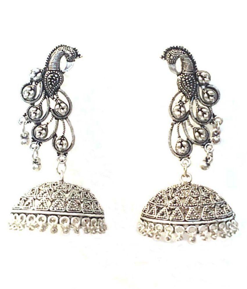 Oxidised Silver Tone peacock Metal Jhumka Earrings For Women