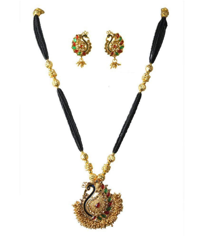 S A ATIGRE Brass Golden Choker Traditional Necklaces Set