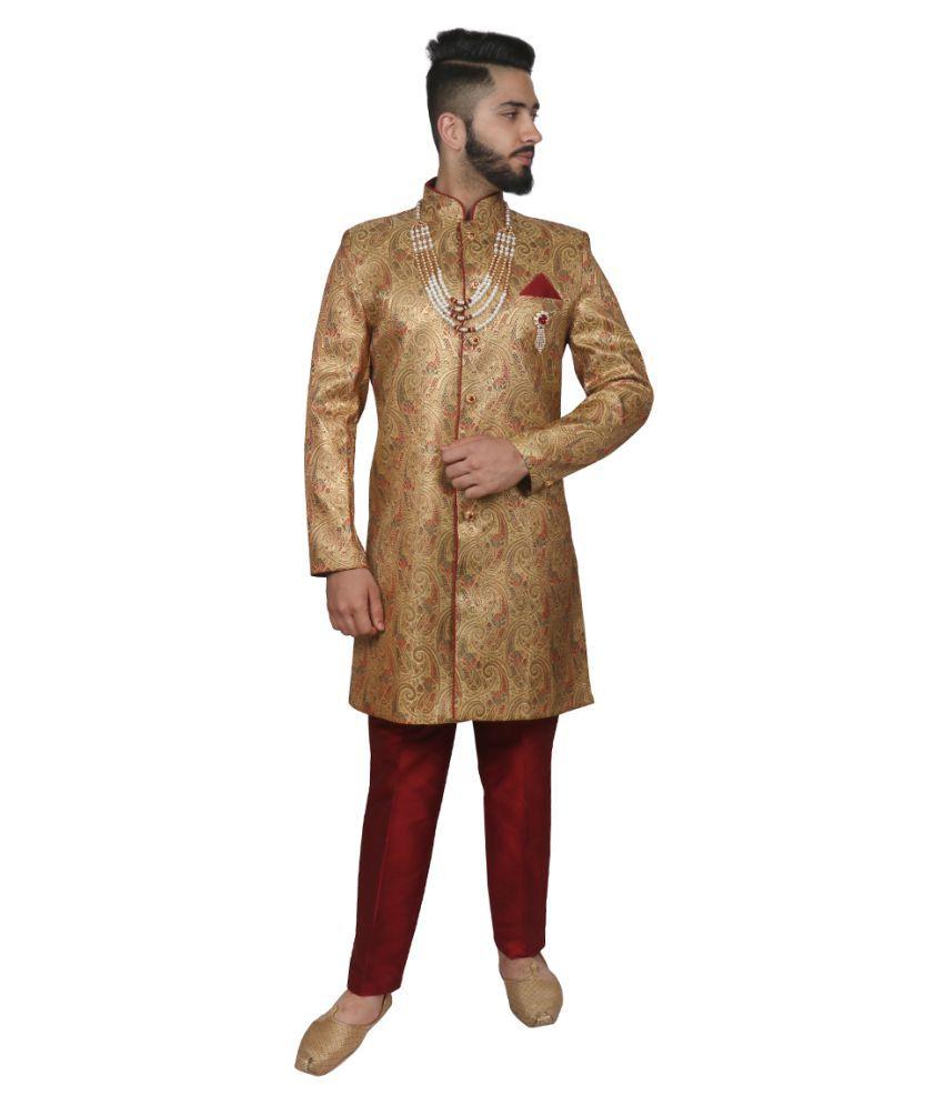 SG RAJASAHAB Gold Brocade Sherwani