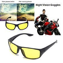 Bike Motorcycle Riding Night Vision HD Goggles Glasses In Best Price Yellow Color Glasses Night Driving Glasses / For Two Wheelers - Set Of 1