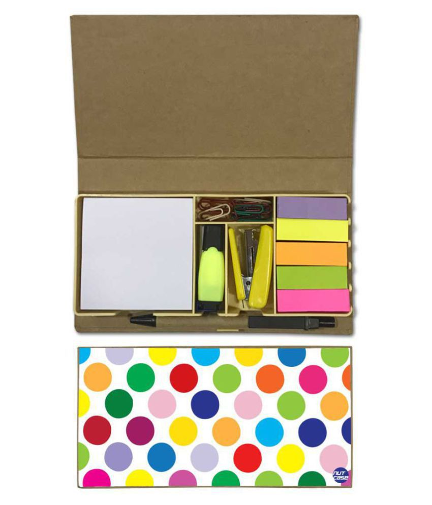 Nutcase Designer Stationary Kit Desk Customised Organizer Memo Notepad - Color Dots