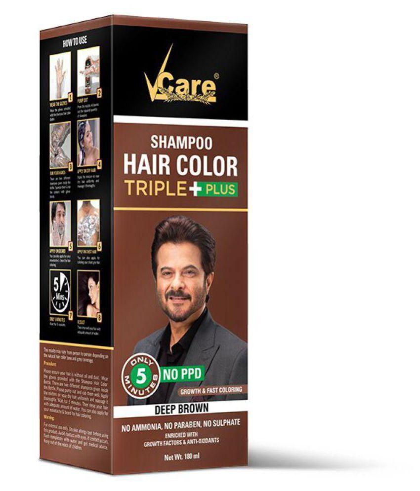 VCare Shampoo Hair Color, Brown Shampoo 180 mL
