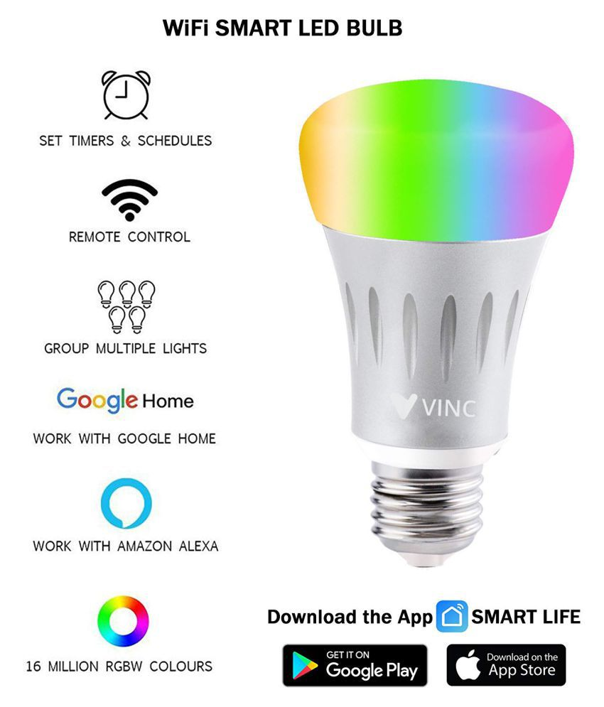 Vinc Smart Light 9W LED Bulb Compatible with Amazon Alexa & Google  Assistant 9W Wi-Fi Controlled Multi - Pack of 1