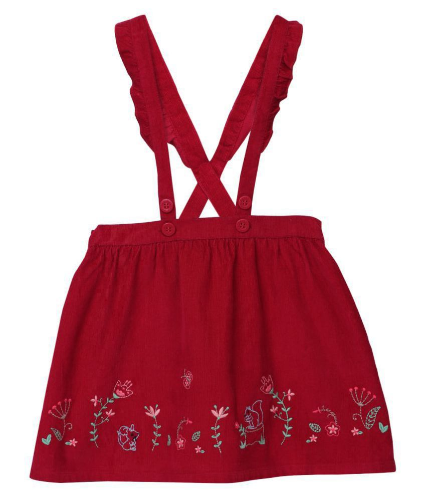 Embroidered Skirt with Suspenders Maroon 18-24M
