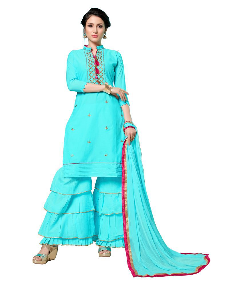 Maroosh Blue Cotton Straight Semi-Stitched Suit