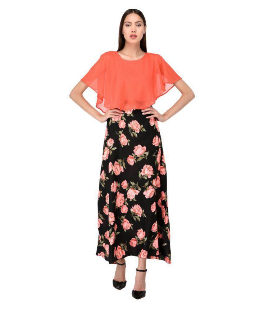 Triraj Poly Crepe Black A- line Dress