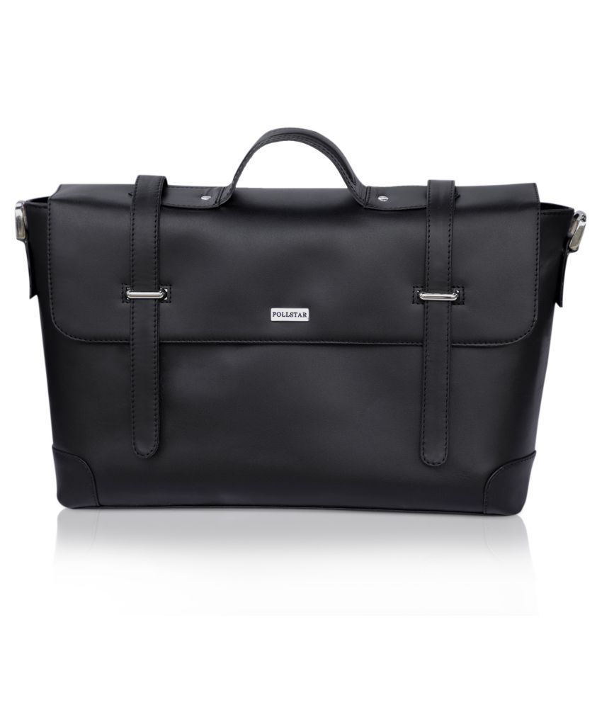POLLSTAR MB9996BK Black Leather Office Messenger Bag