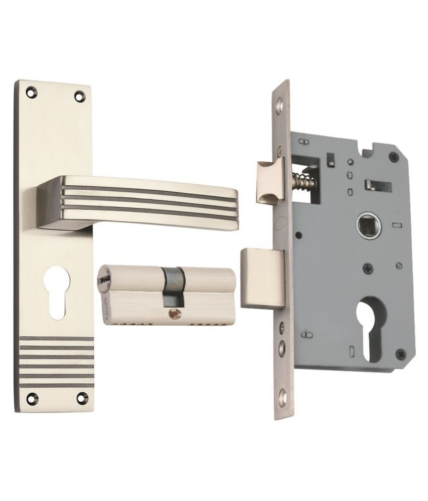 Spider Zinc  Mortice  Lock  Set  with Black Silver  Finish (SCLZBS + ZZ29SBS)