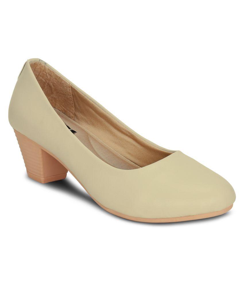Get Glamr Beige Block Heels