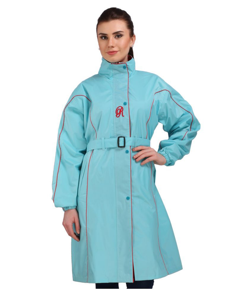 Goodluck Polyester Long Raincoat - Blue