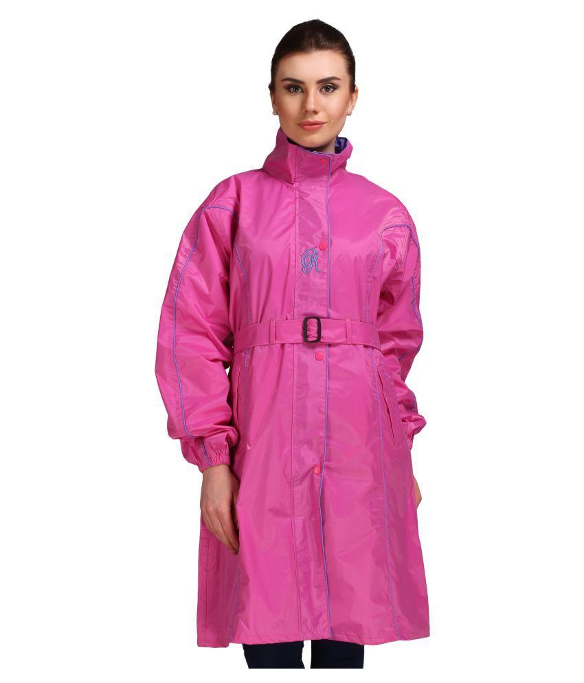 Goodluck Polyester Long Raincoat - Pink