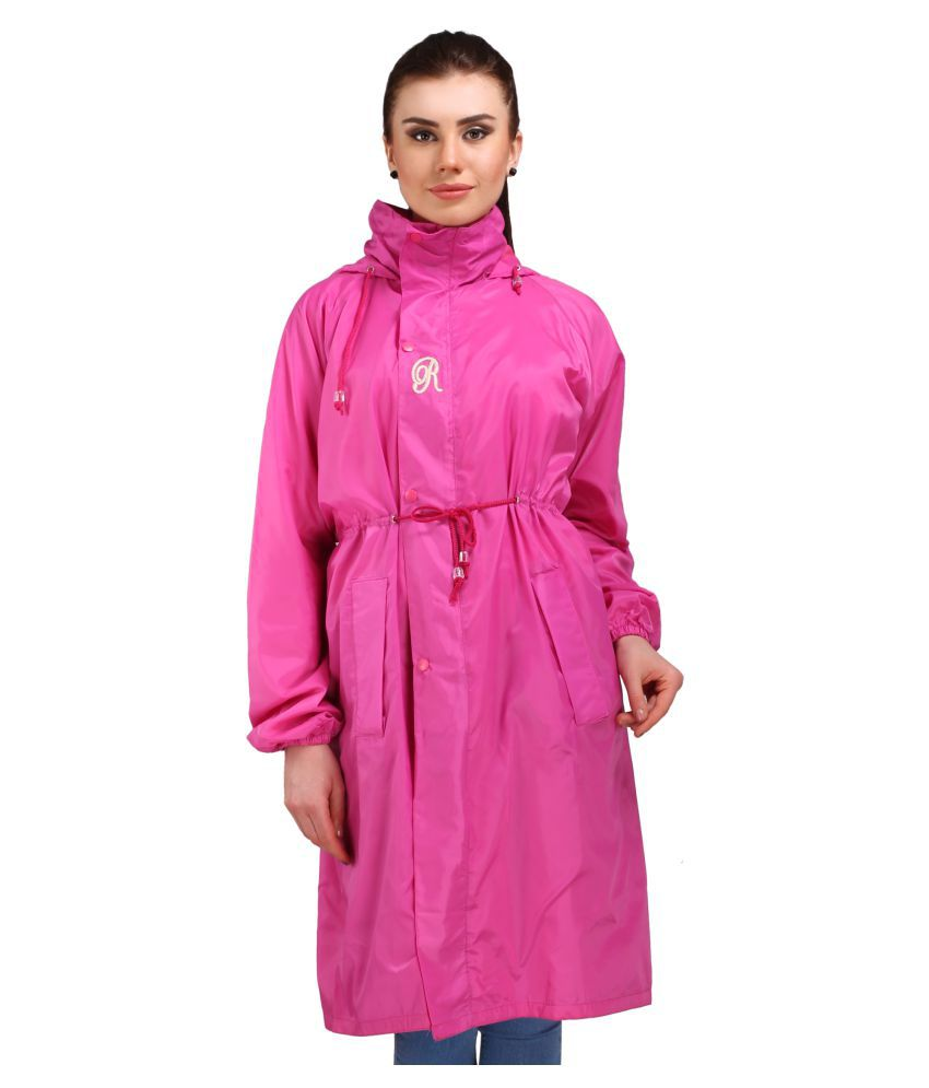 Goodluck Polyester Long Raincoat - Pink