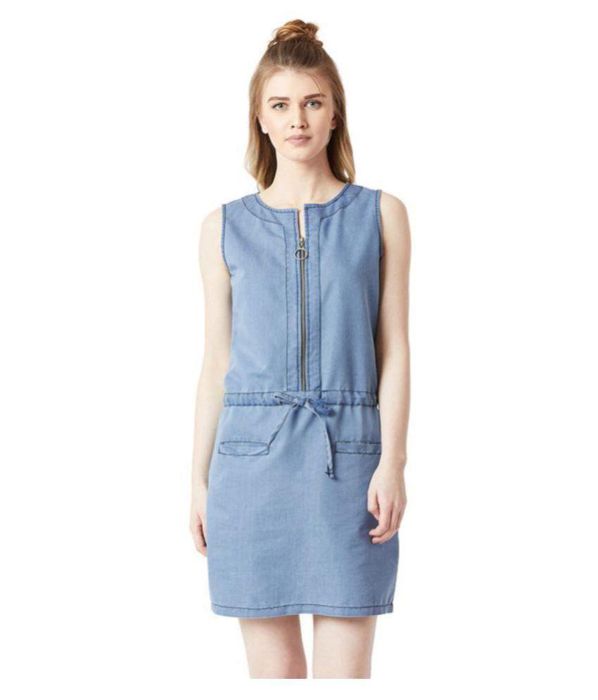 Miss Chase Denim Blue Shift Dress