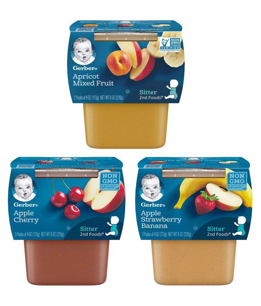 Gerber Apple Straw Bana, Apples Cherries, Apri Snack Foods for Under 6 Months ( 678 gm ) Pack of 3