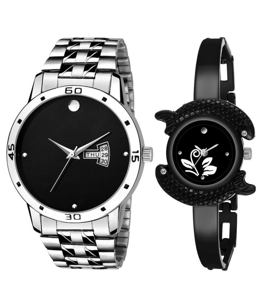 Herita Enterprise Black Dial Day & date Fancy Couple Watch For New Lovers 036