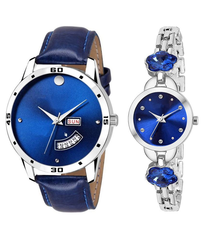 Herita Enterprise Blue Dial Day And Date New Stylish Couple Watch For Men And Women 128