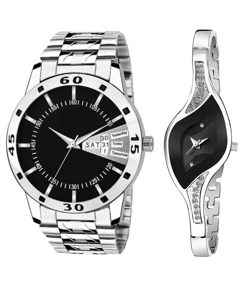 Vasant Impex Black Dial Day & date Fancy Couple Watch For New Lovers 019