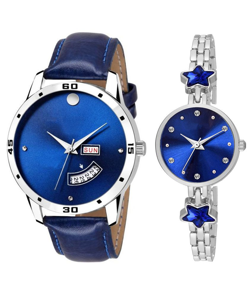 Vasant Impex Blue Dial Day And Date New Stylish Couple Watch For Men And Women 122