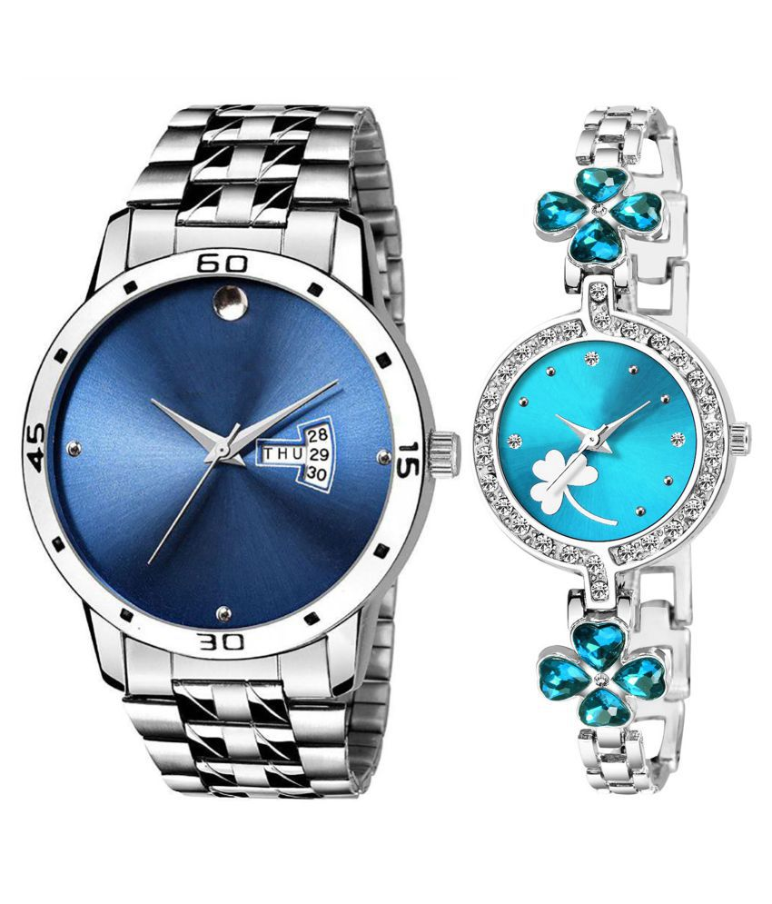 Herita Enterprise Blue Dial Day And Date New Stylish Couple Watch For Men And Women 247