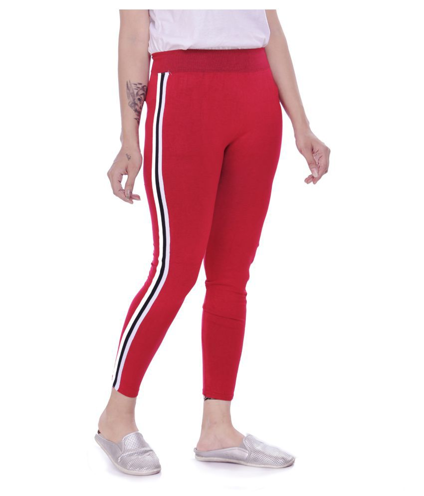 ADABHUT Cotton Lycra Jeggings - Red