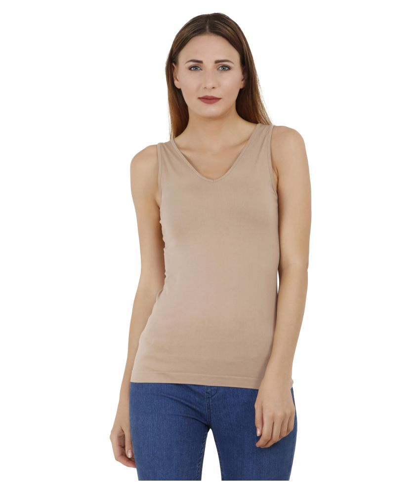 Aadrika Cotton Lycra Beige T-Shirts