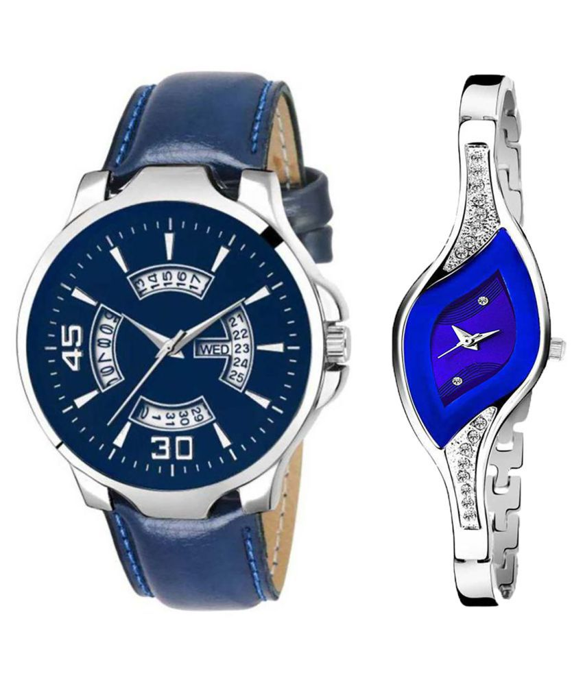 Vrutti Enterprise Blue Dial Day And Date New Stylish Couple Watch For Men And Women 145