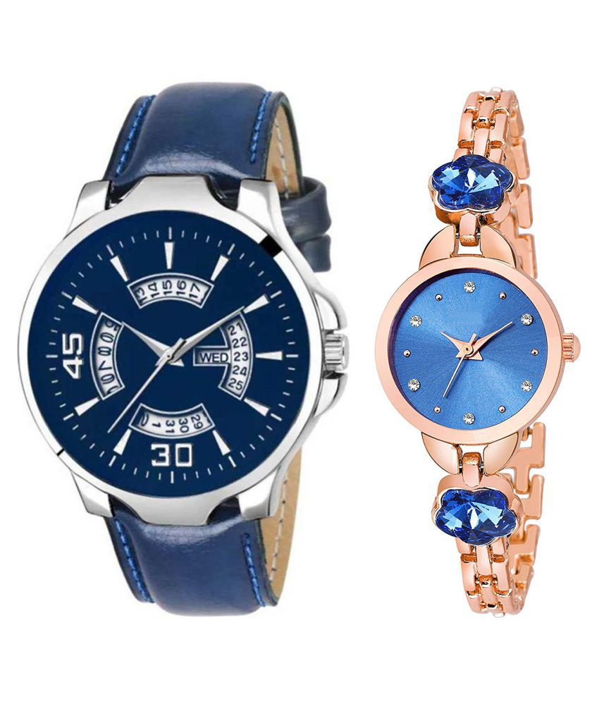 Vrutti Enterprise Blue Dial Day And Date New Stylish Couple Watch For Men And Women 143