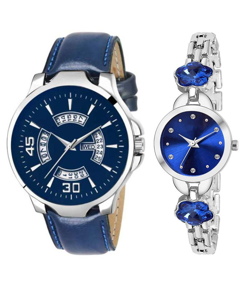 Vrutti Enterprise Blue Dial Day And Date New Stylish Couple Watch For Men And Women 144