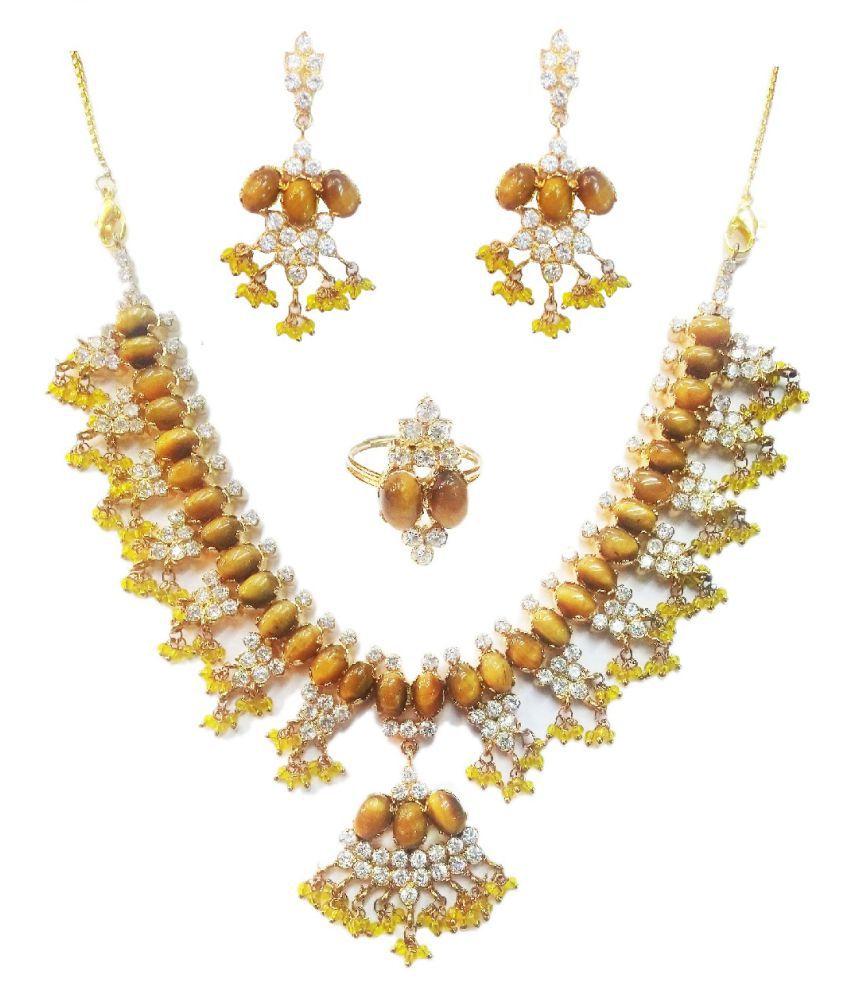 Vinayak Brown Collar Designer 18kt Gold Plated Necklaces Set