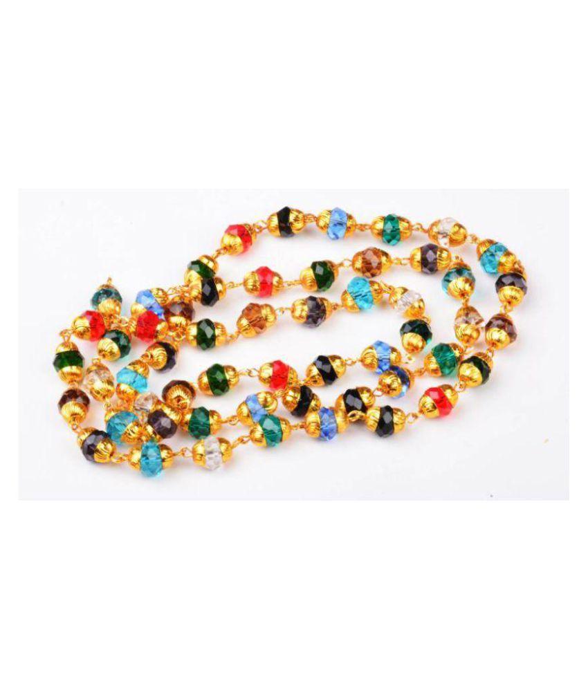 Green Spiritual Energized and Natural Navratan Hakik Stone Beads Chain - 24k Gold Plated Metal Chain (Japa Mala) 8 mm - 75 cm Length Quartz Crystal Chain