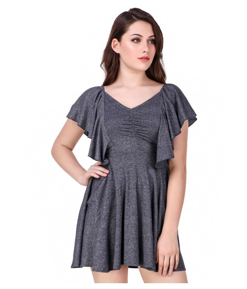 Texco Cotton Grey Fit And Flare Dress