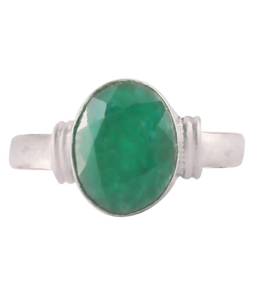 Swasti Retail 7.25 Ratti Natural Panna Adjustable Ring Origional and Certified by GGTL Emarald Precious Gemstone Free Size Anguthi Top Quality Gems for Astrological Purpose In silver Metal