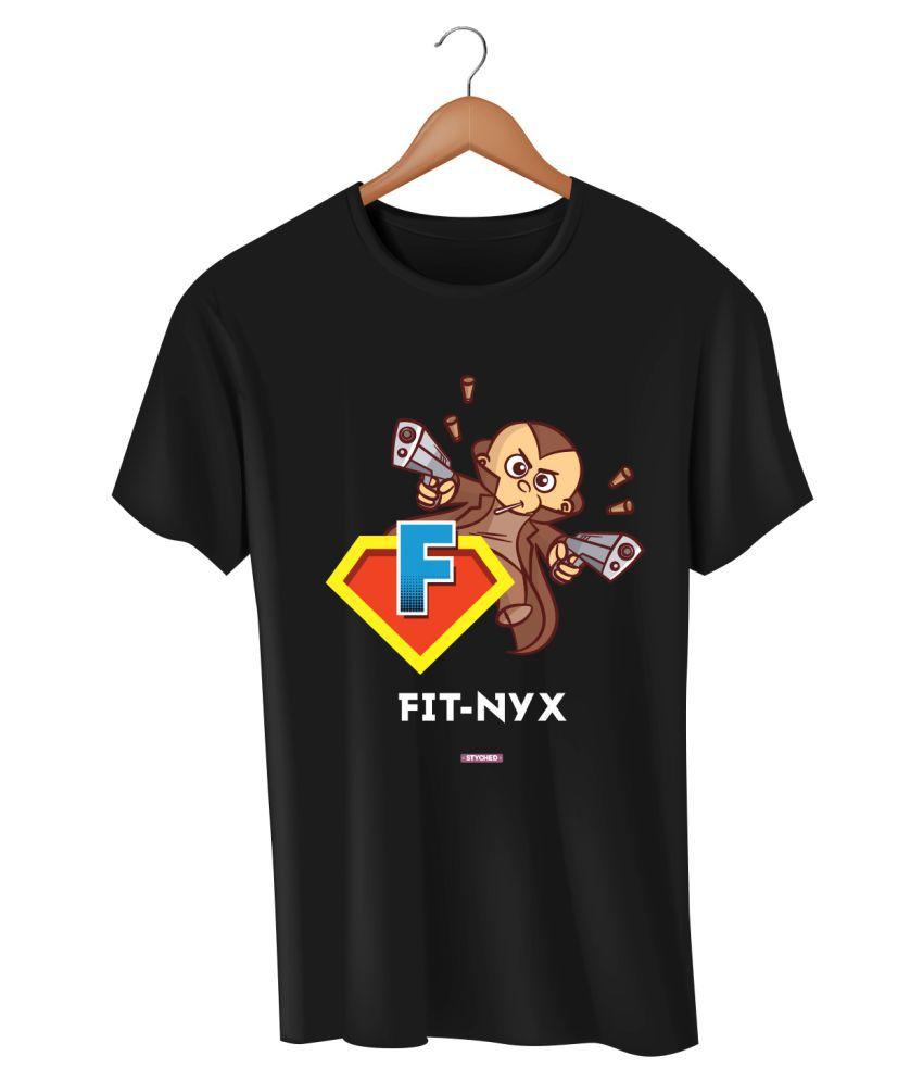 Styched Black Half Sleeve T-Shirt