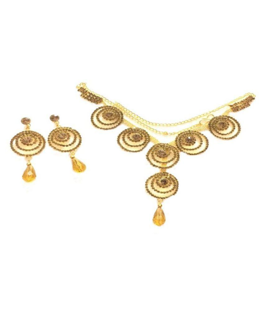 Gold Touch Alloy Golden Collar Designer Gold Plated Necklaces Set