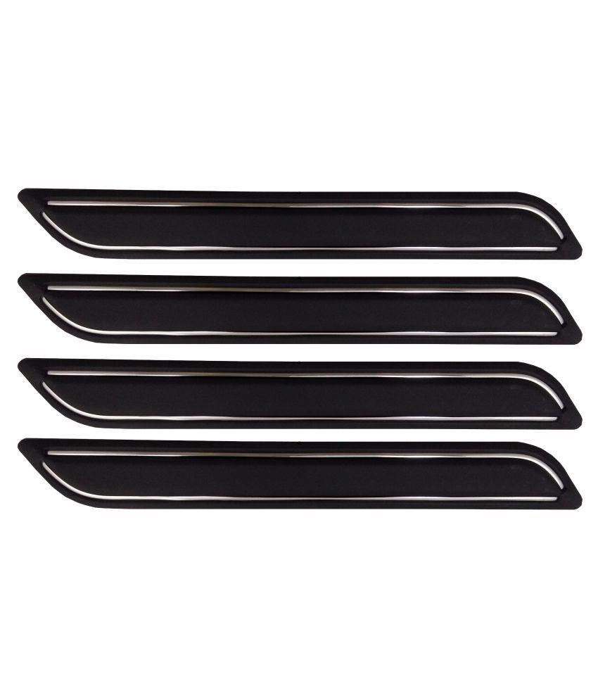 Ek Retail Shop Car Bumper Protector Guard with Double Chrome Strip (Light Weight) for Car 4 Pcs  Black for MahindraTUV300T8