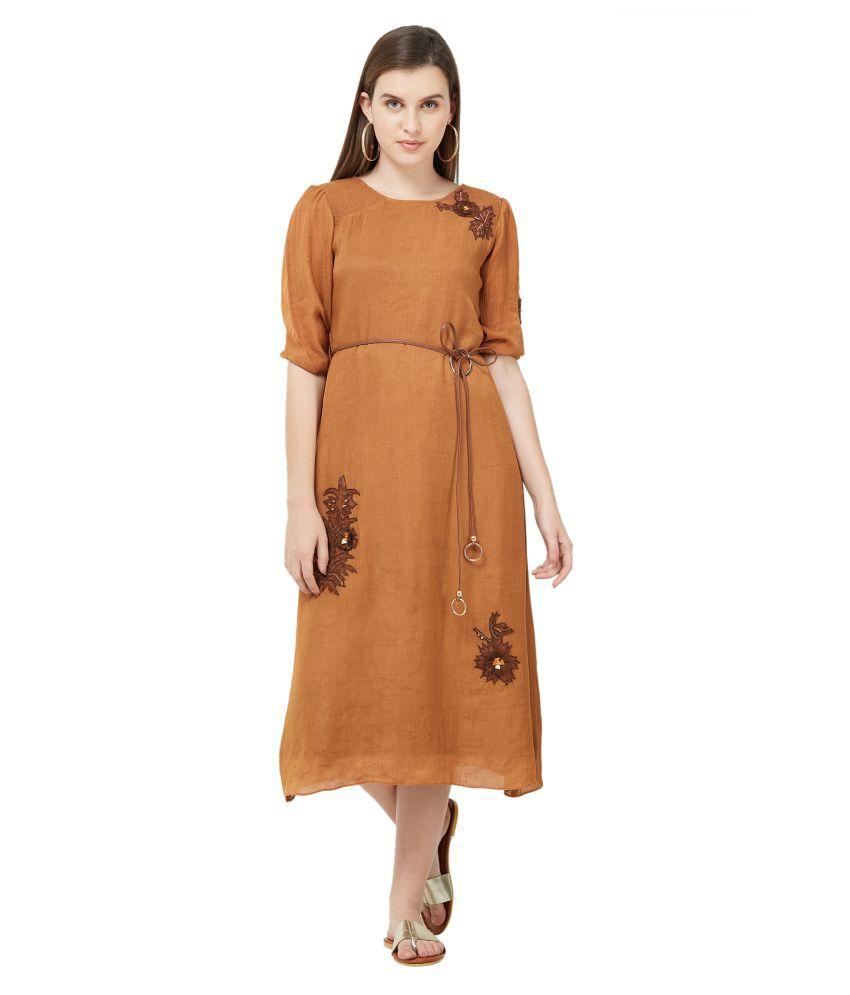 Soie Polyester Brown A- line Dress