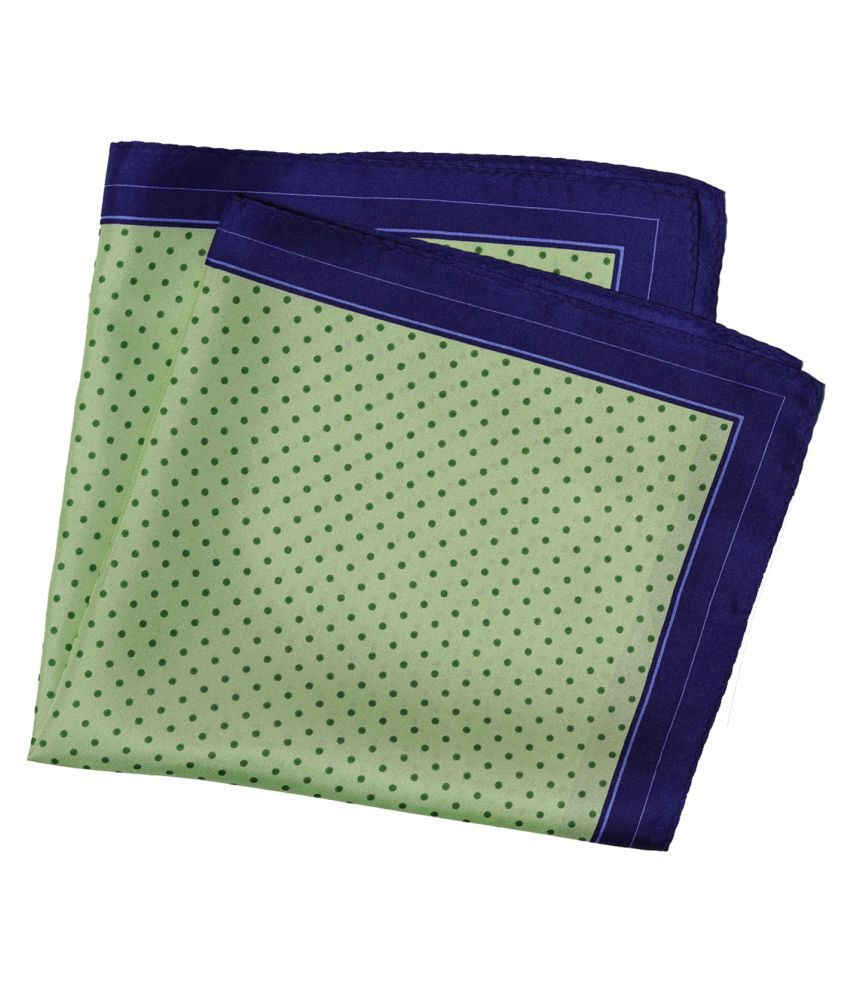 69th Avenue Green Silk Dot Printed Casual Free Size Pocket Square for Men