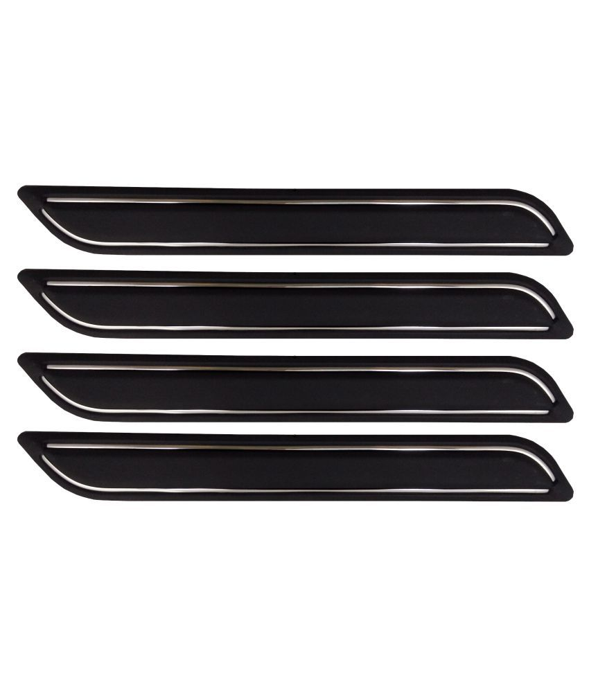 Ek Retail Shop Car Bumper Protector Guard with Double Chrome Strip (Light Weight) for Car 4 Pcs  Black for ToyotaInnovaCrysta2.7ZXAT7STR