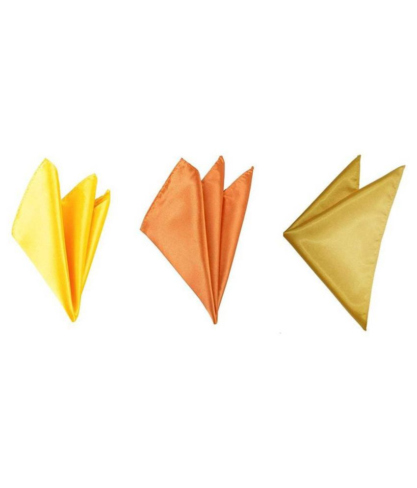 Voici France Yellow, Orange and Gold satin Solid Pocket Square Combo Pack of 3
