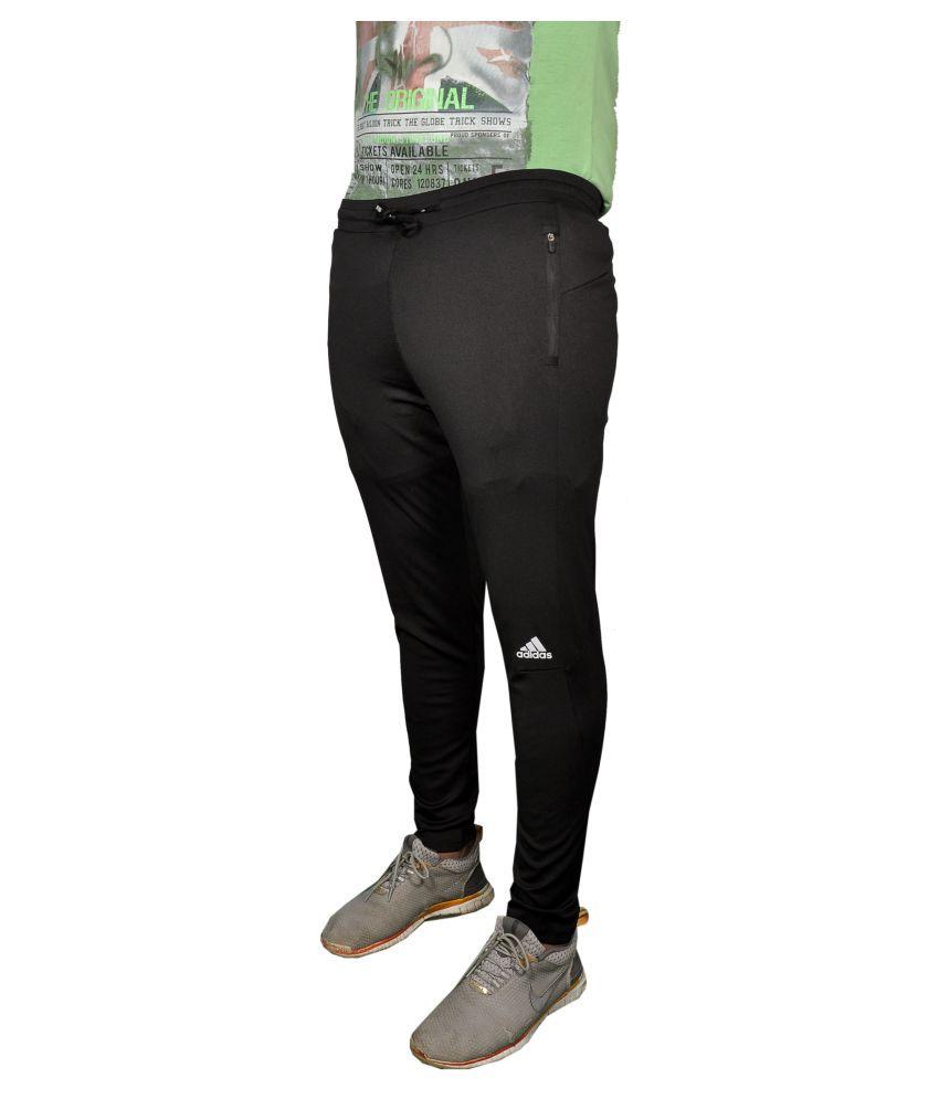 Adidas Black Polyester Lycra Track Pant