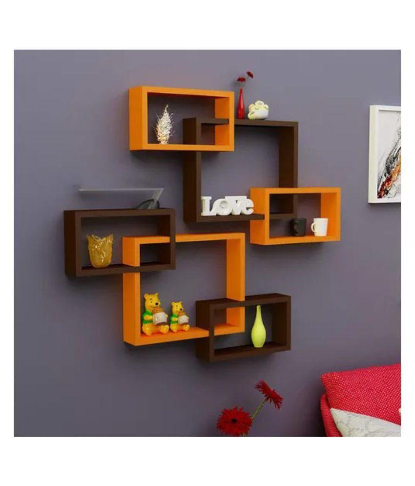 Onlineshoppee Intersecting MDF Wall Shelves Set of 6 - Orange & Black
