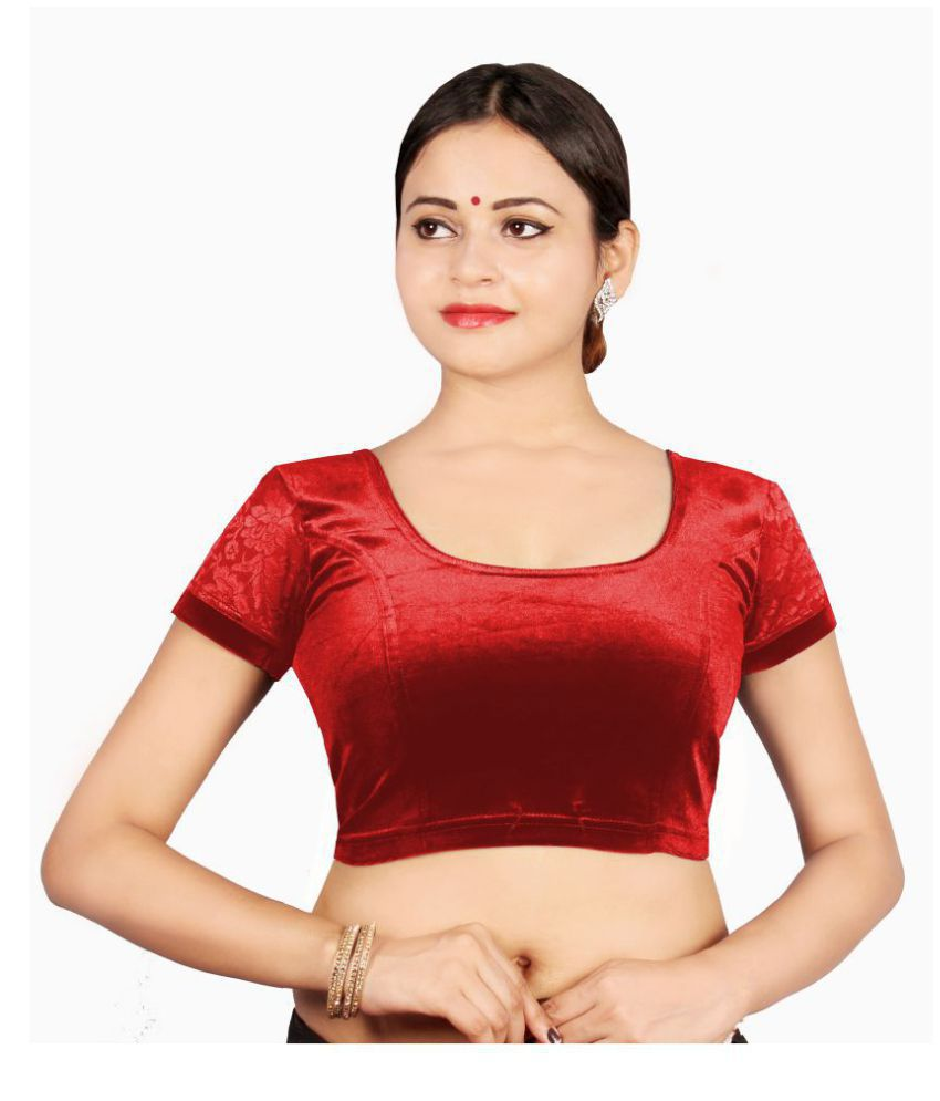 ABHI Red Velvet Readymade with Pad Blouse