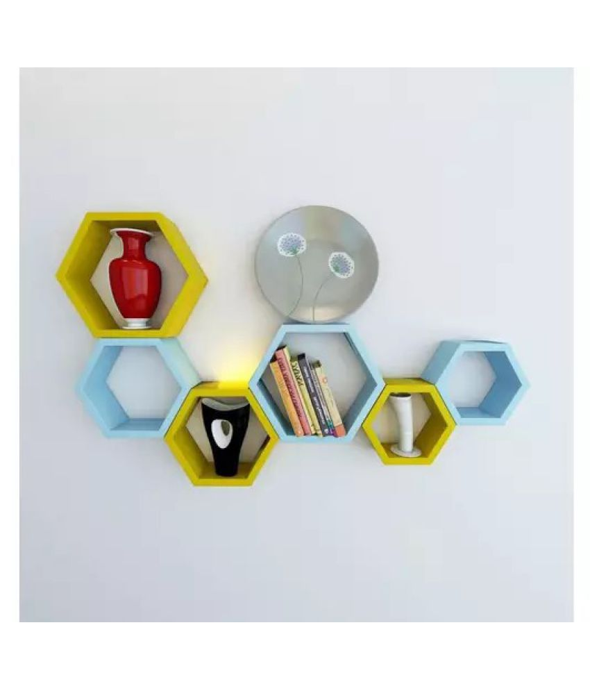 Onlineshoppee Fancy Set of 6 Hexagonal Shape MDF Wall Shelf Big Color- Yellow & Sky Blue