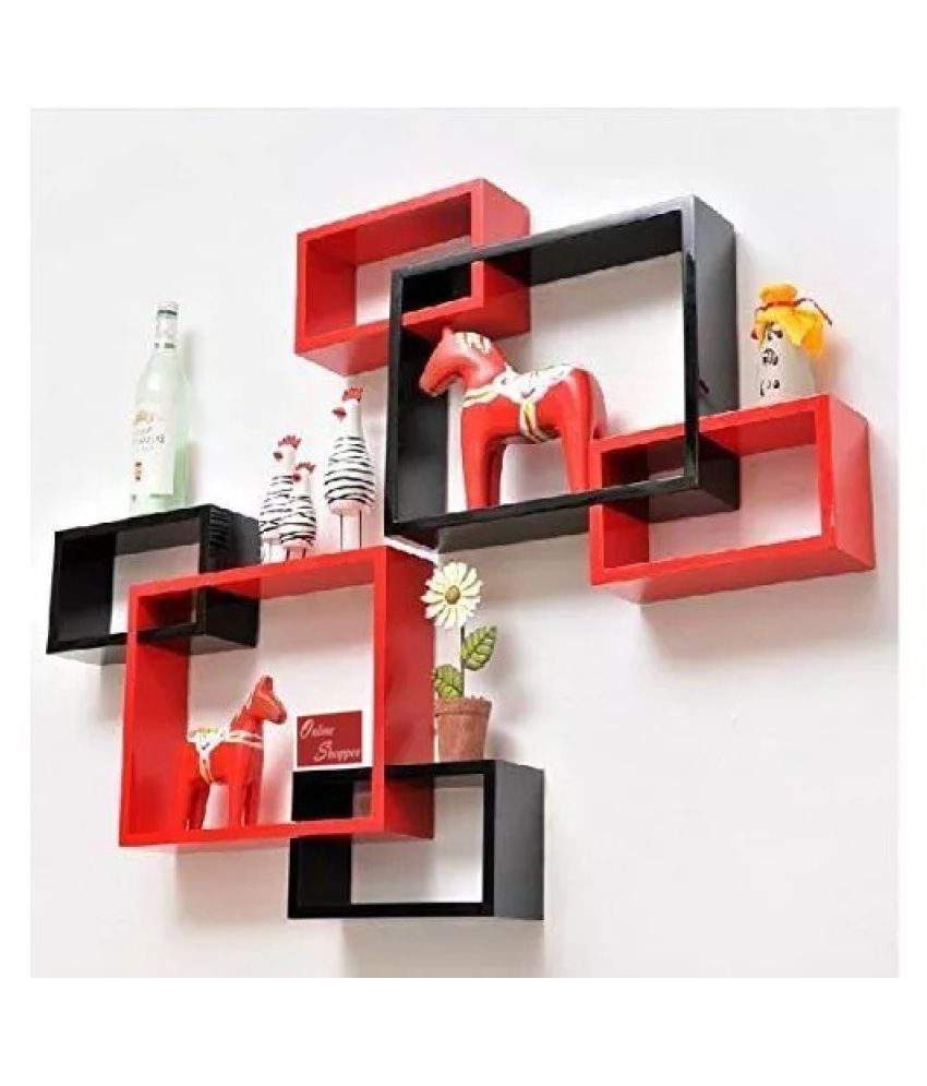 Onlineshoppee Intersecting MDF Set of 6 Wall Shelves - Black & Red