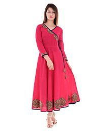 Yash Gallery Pink Cotton Anarkali Kurti