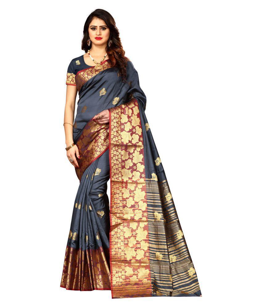 Anand Fashion Grey Art Silk Saree