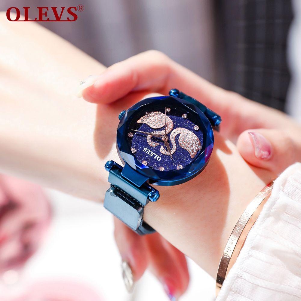 OLEVS Women's Watch Fashion Mysterious Starry Dial Magnetic Buckle waterproof