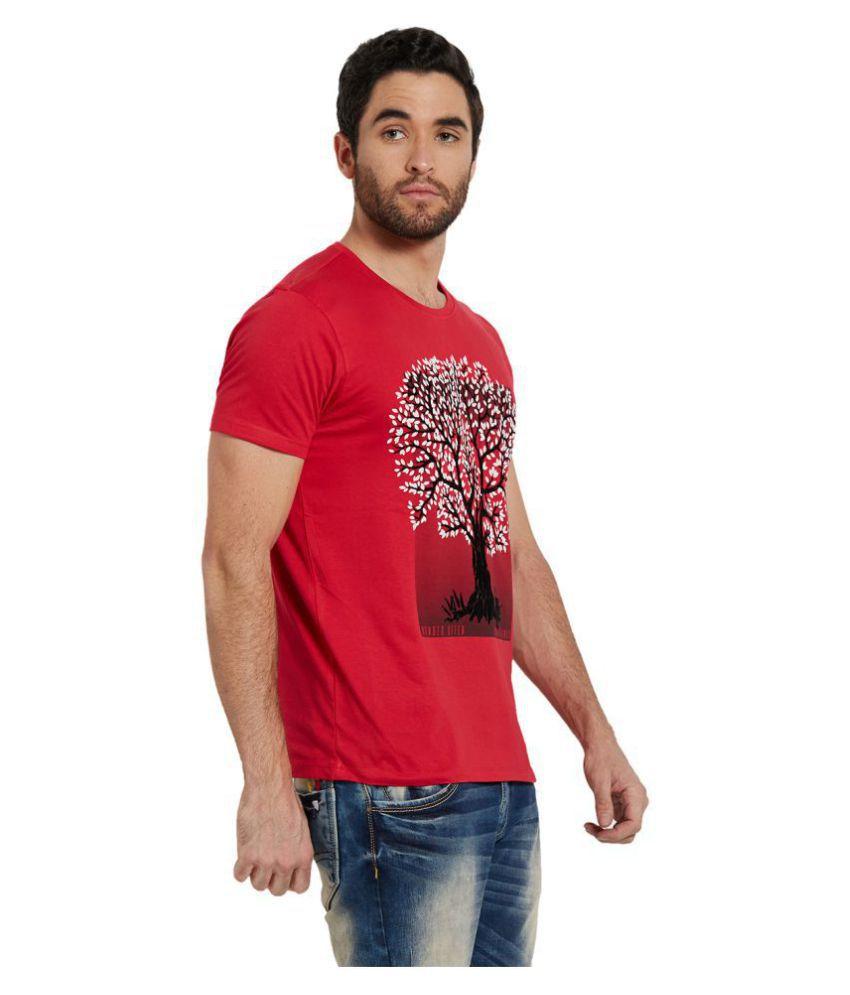 Spykar Red Half Sleeve T-Shirt