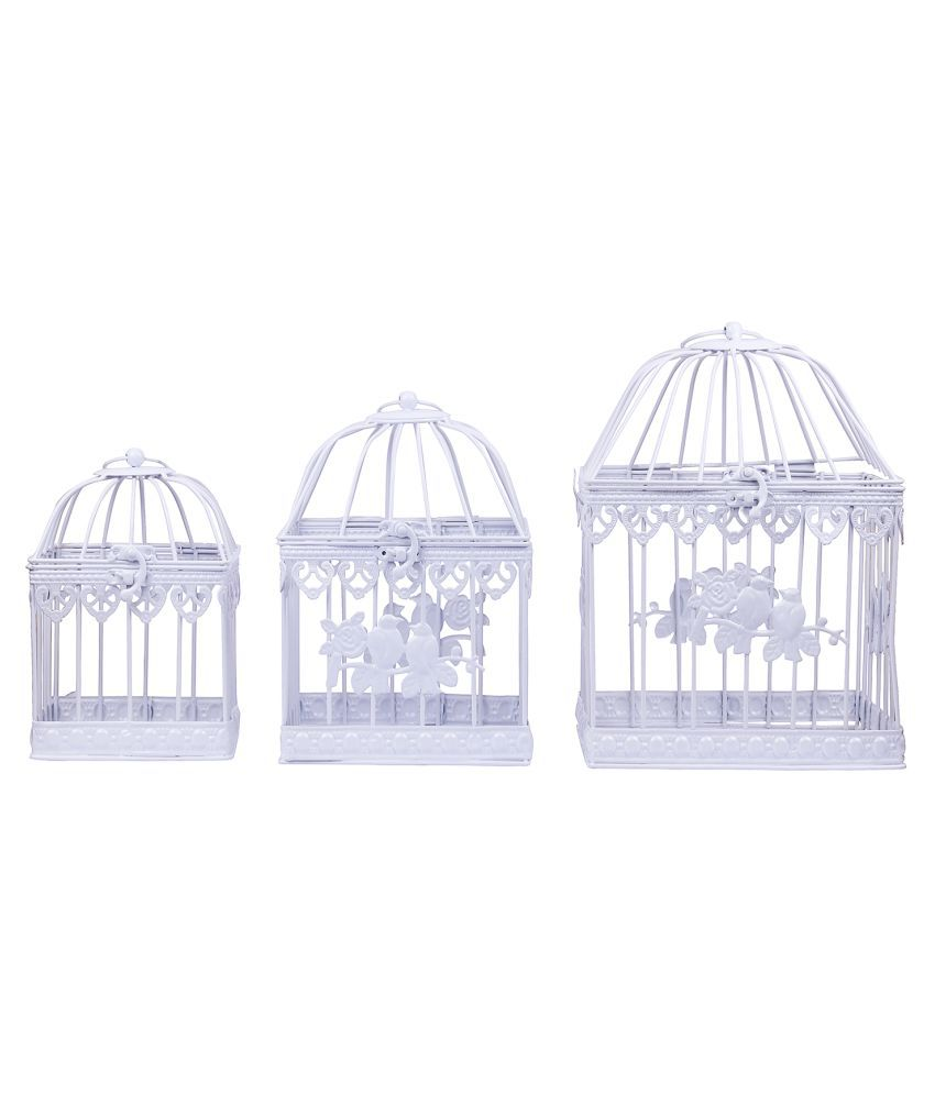Wonderland Iron Bird cage Sets in Metal- Square Set of 3 Decorative Cage White - Pack of 3