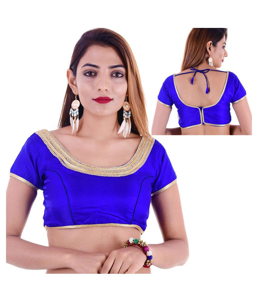 Amazing Blue Silk Readymade with Pad Blouse